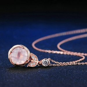 Collier pierre quartz rose argent