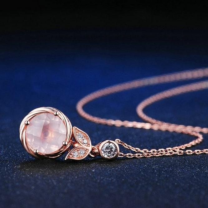 Collier pierre quartz rose argent