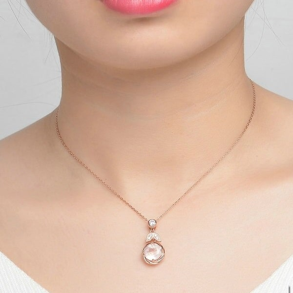 Collier quartz rose argent, chic