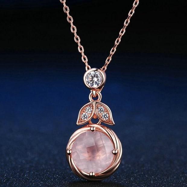 Collier quartz rose argent