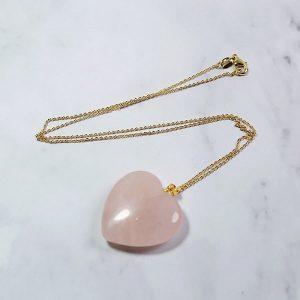 Collier quartz rose coeur, à chaîne