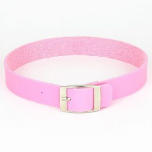 Collier rose en cuir, rose pale