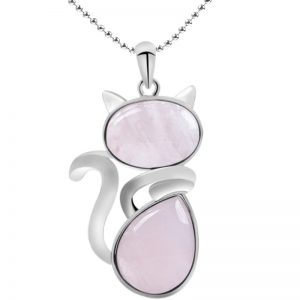 beau collier chat rose