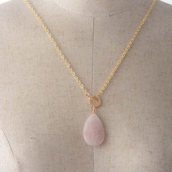 Collier avec pierre en quartz rose pour femme