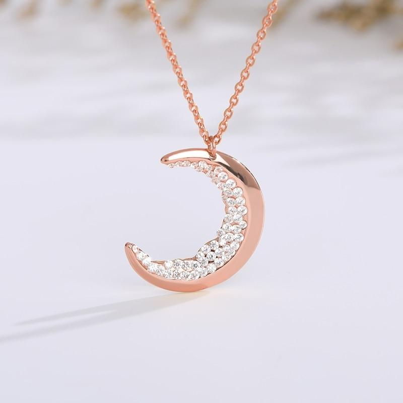 Collier lune rose strass brillant
