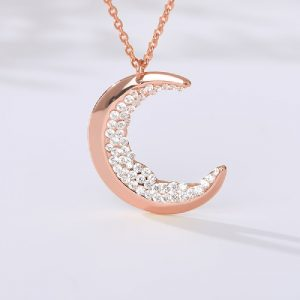 Collier lune rose strass, couleur douce