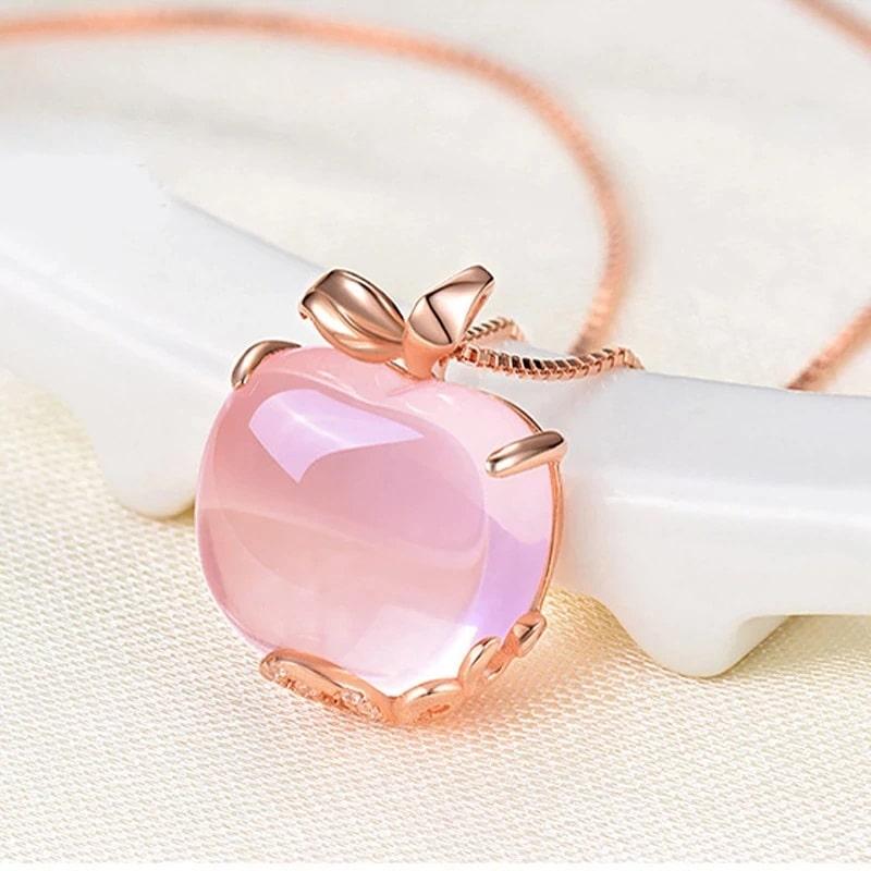 Collier original, pomme quartz rose