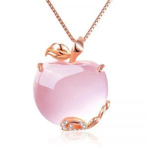 Collier pomme quartz rose