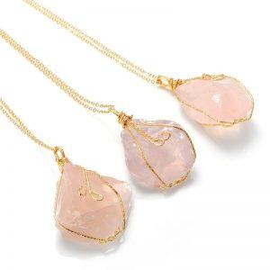 Pendentif pierre quartz rose veritable