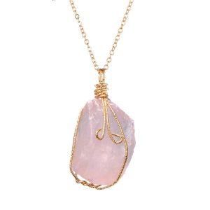 Pendentif quartz rose veritable