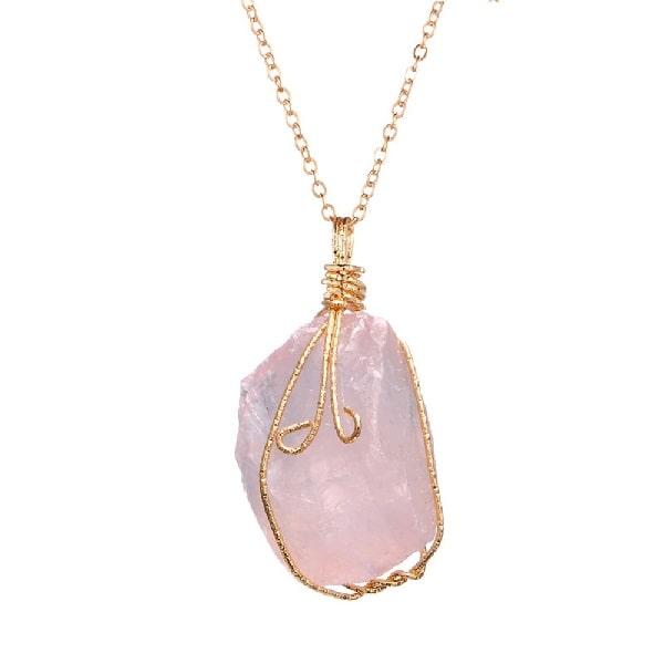 Pendentif quartz rose veritable, pierre naturelle