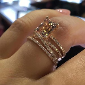 Bague or rose morganite