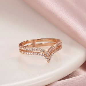 Bague rose diamant cz