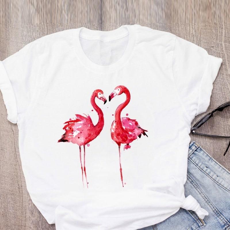 T shirt flamant rose