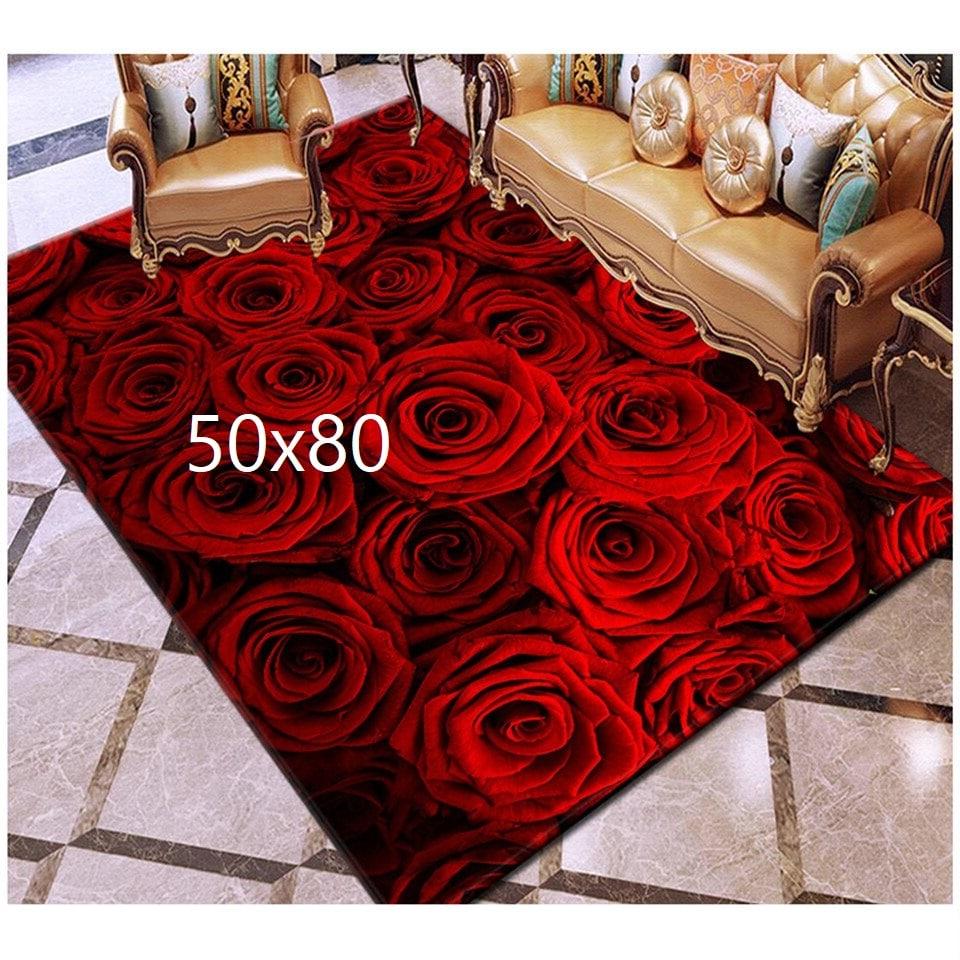 Tapis de rose, rose rouge 50x80