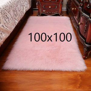 Tapis fourrure rose, 100x100