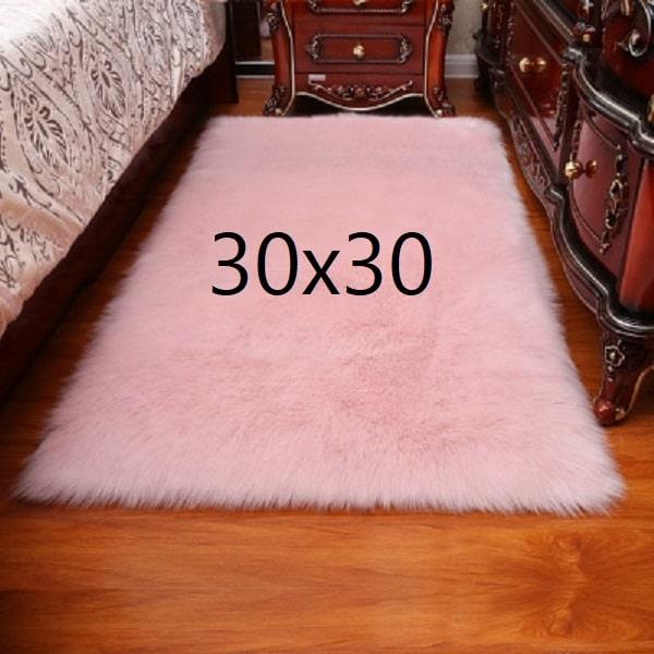Tapis fourrure rose, 30x30