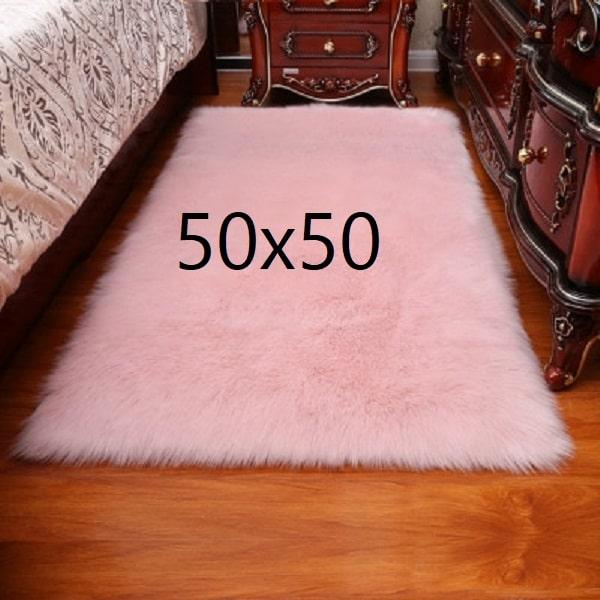 Tapis fourrure rose, 50x50