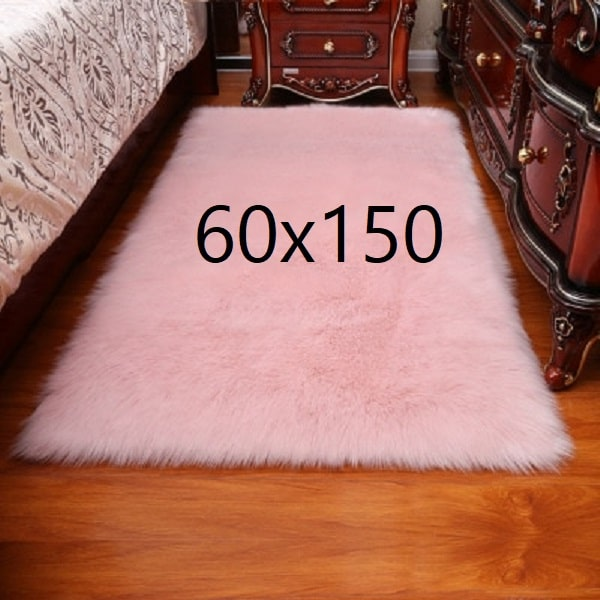 Tapis fourrure rose, 60x150