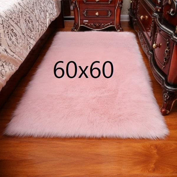 Tapis fourrure rose, 60x60