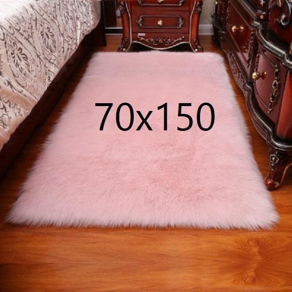 Tapis fourrure rose, 70x150