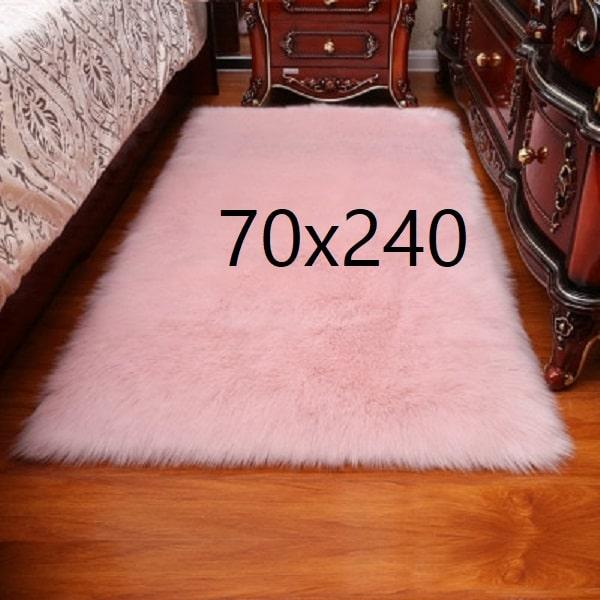 Tapis fourrure rose, 70x240