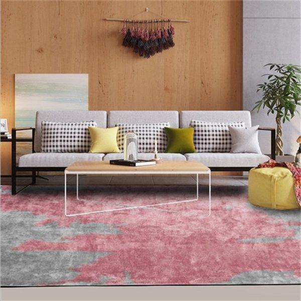 Tapis gris et rose, déco salon