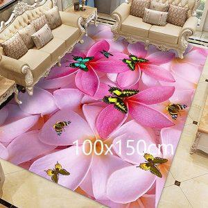 Tapis papillon rose, 100x150cm