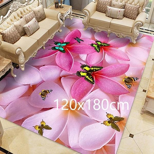 Tapis papillon rose, 120x180cm