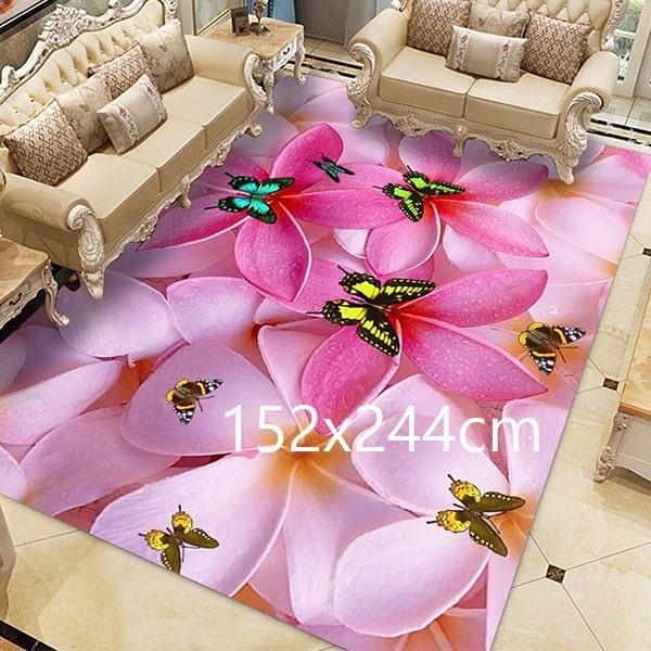 Tapis papillon rose, 152x244cm