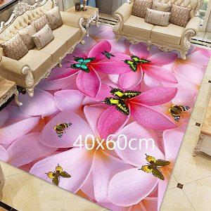 Tapis papillon rose, 40x60cm