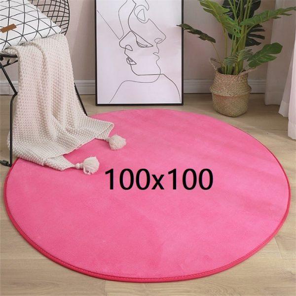 Tapis rond rose 100x100