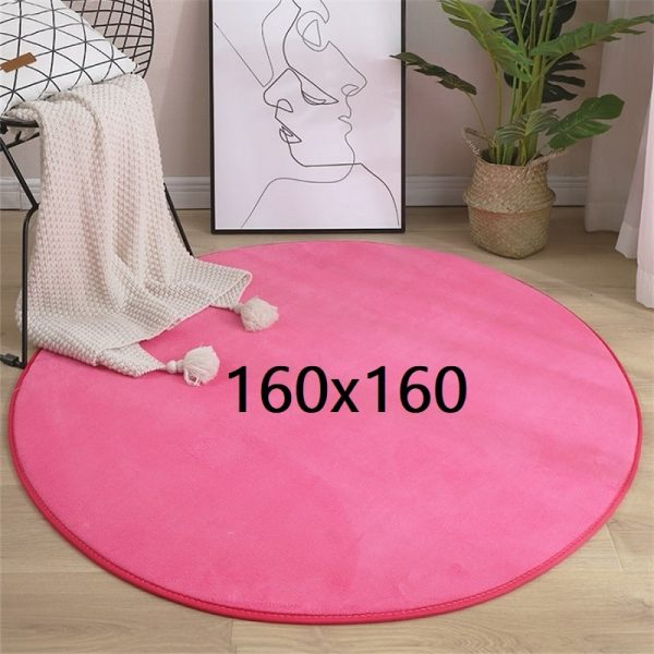 Tapis rond rose 160x160