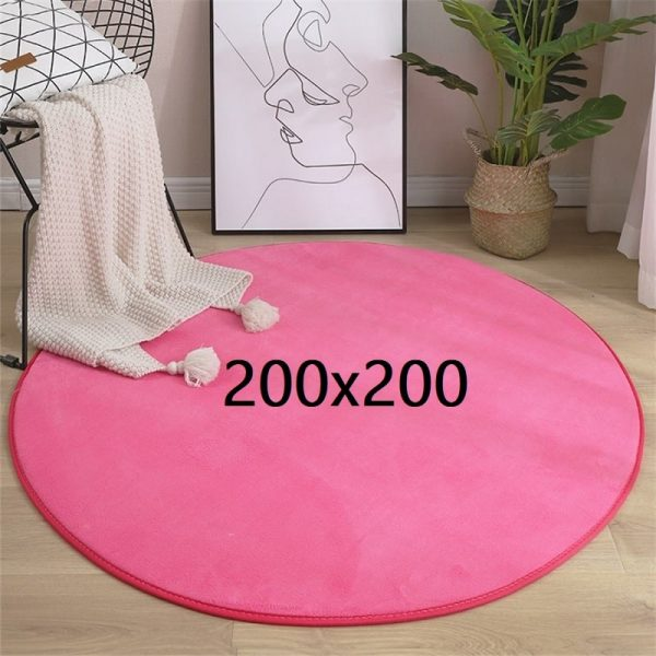 Tapis rond rose 200x200