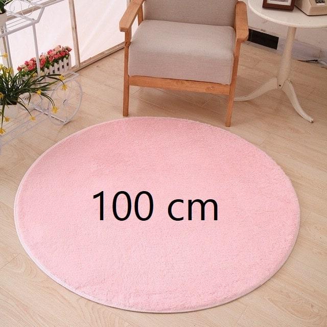 Tapis rond rose pale 100 cm