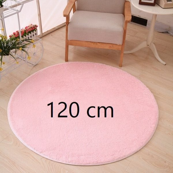 Tapis rond rose pale 120 cm