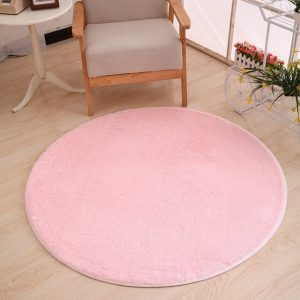 Tapis rond rose pale