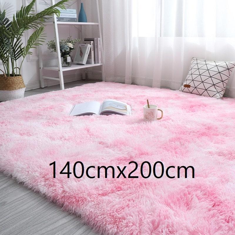 Tapis rose et blanc à poils longs, 140cmx200cm