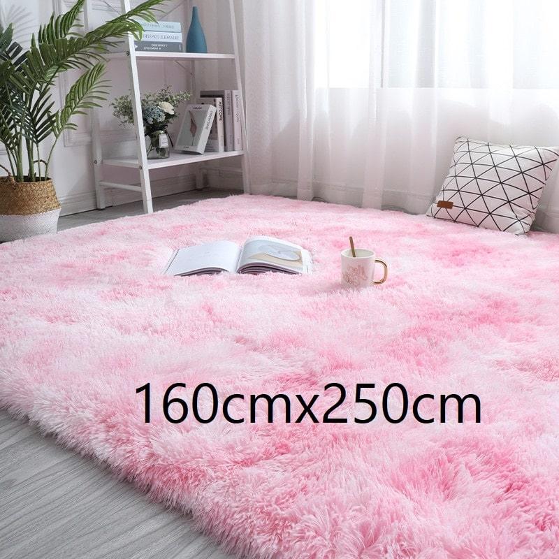 Tapis rose et blanc à poils longs, 160cmx250cm
