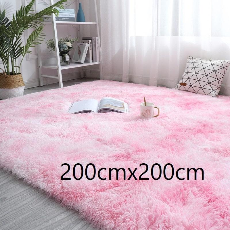 Tapis rose et blanc à poils longs, 200cmx200cm