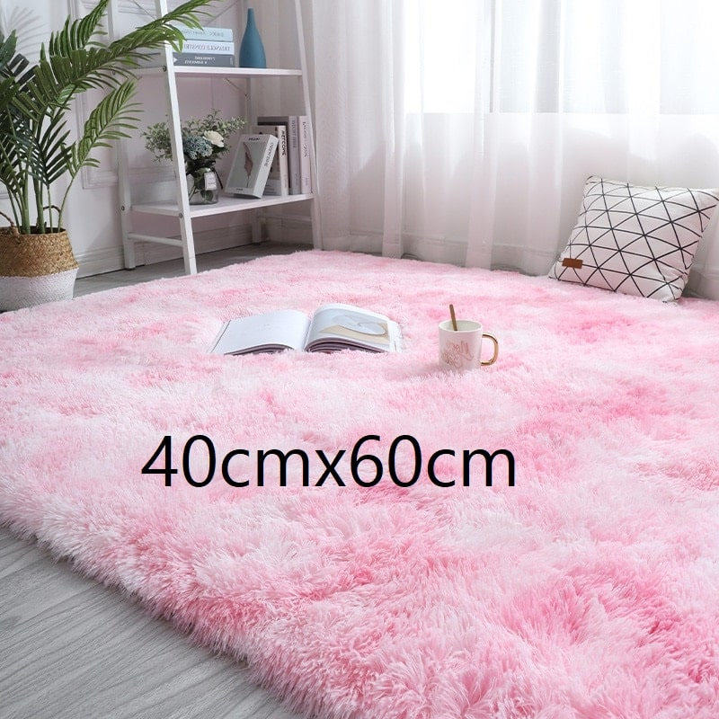 Tapis rose et blanc à poils longs, 40cmx60cm