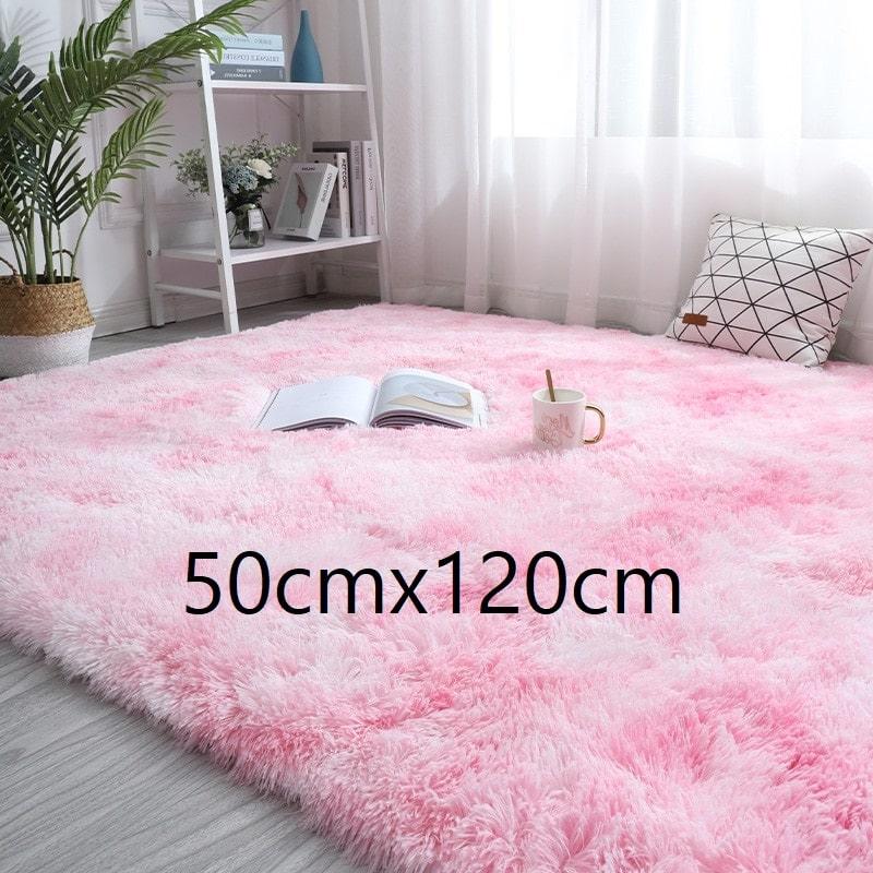 Tapis rose et blanc à poils longs, 50cmx120cm