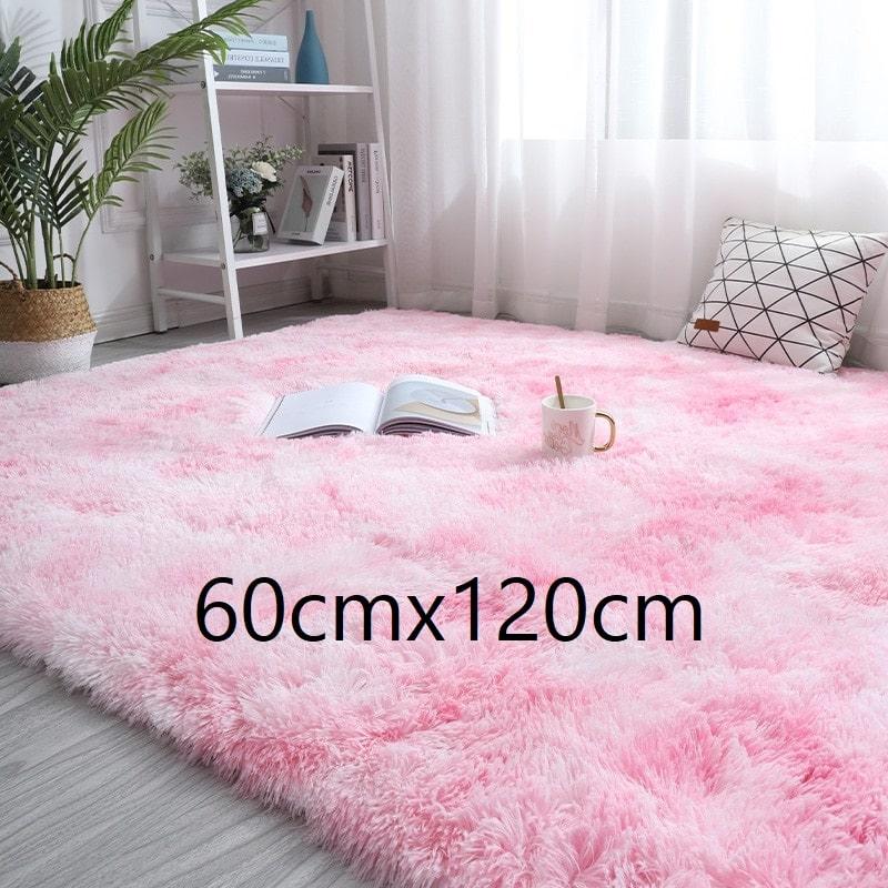 Tapis rose et blanc à poils longs, 60cmx120cm