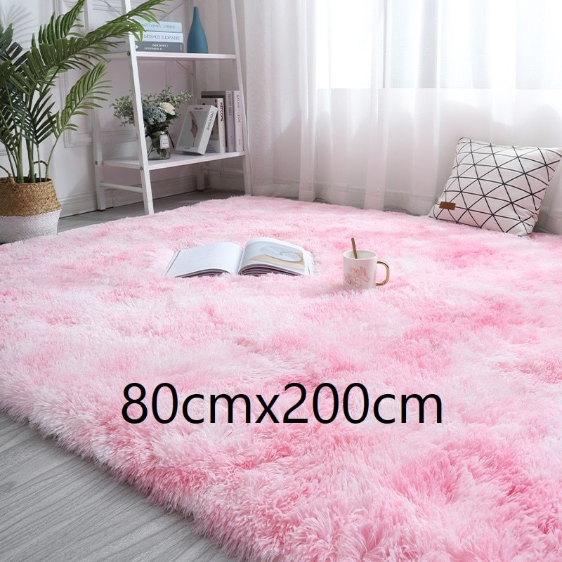 Tapis rose et blanc à poils longs, 80cmx200cm