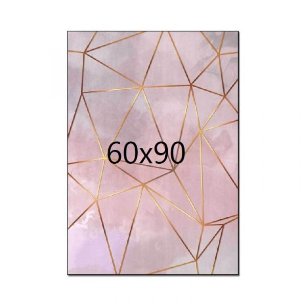 Tapis rose et doré 60x90