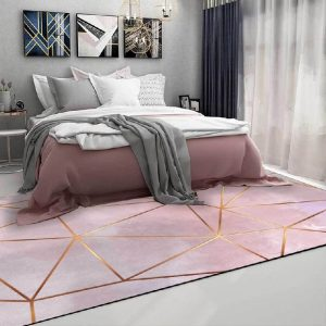 Tapis rose et doré moderne